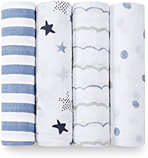 Aden and Anais Rock Star Classic Muslin Swaddles, Blue, White, 4 Count