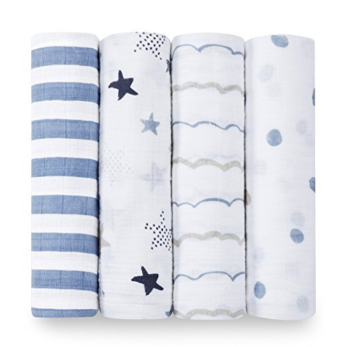 aden + anais Swaddle Blanket, Boutique Muslin Blankets for Girls & Boys, Baby Receiving Swaddles, Ideal Newborn & Infant Swaddling Set, Perfect Shower Gifts, 4 Pack, Rock Star