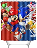 Amy Fisherddd Cartoon Super Mario Soni_c Shower Curtains for Bathroom,Waterproof Polyester Fabric Resistant Durable Shower Curtain 60x72 Inch 12 Hooks,Eco-Friendly
