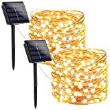 2-Pack Solar Christmas Lights Outdoor, Super Bright 240 LED Solar String Lights (Upgraded Oversize Lamp Beads), Waterproof Copper Wire 8 Modes Fairy Lights for Christmas Party Patio Garden(Warm White)