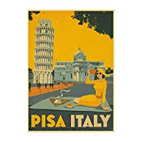 ヴィンテージ旅行ポスターピサイタリア美容キャンバス絵画インテリアアニメウォールアートパネルレトロコミックプリント北欧のリビングルーム家の壁の装飾写真40X60cmフレームなし