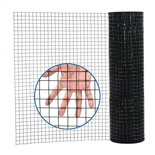 36'' x 50' 1inch Hardware Cloth 16 Gauge Black Vinyl Coated Welded Fence Mesh for Home and Garden Fence and Home Improvement Project (36'' x 50')