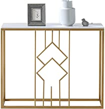 Sofa Console Table,Marble Metal Frame Accent White Narrow Foyer Hall Table for Living Room Corridor 31 × 11 × 29 Inch