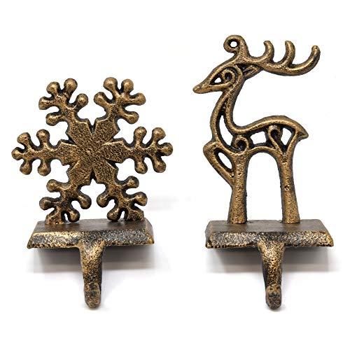 Gift Boutique Christmas Stocking Holder Set of 2 Metal Snowman and Santa Stockings Hanger Hook Mantle or Fireplace Decor Vintage Decorations