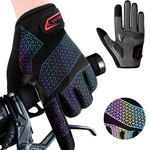 Fahrradhandschuhe Radsporthandschuhe Gradient rutschfeste und Stoßdämpfende Mountainbike Handschuhe mit Signalfarbe geeiget Unisex Herren Damen (Voller Finger, XL)