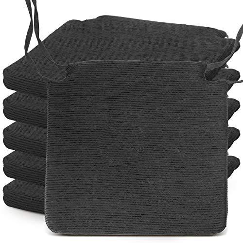 BCASE Pack de 6 Cojines de Asiento y Silla Espuma Fantasy, 40x40cm, Desenfundable con Cremallera, Cómodos, Resistentes, Fácil de Limpiar, para Cocina, Cuarto, Etc. Negro