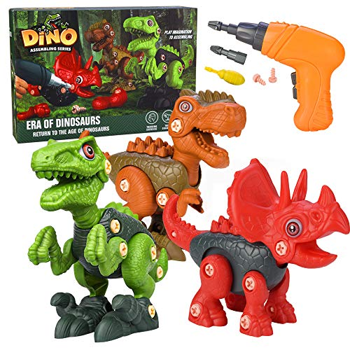 Invech Take Apart Dinosaur Toys for Kids, STEM DIY Toy Set with Electric Drill Construction- Engineering Play Kit for Boys/Girls