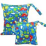 ViVidLife Bolsa de Pañales, 2 PCS Bolsa Pañales Impermeable Reutilizable Lavable Bolsa Organizador de Maquillaje, Viajes, Playa, Piscina, Gym con 2 Cremallera para Mamá Bebé (Azul)