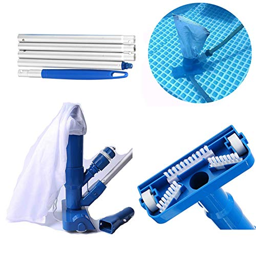 N/I Kit di Pulizia per Piscina, Testina di Aspirazione Multifunzione A Ugello, Kit di Pulizia A Rullo per Spazzola da 120 Cm (Blu) con 5 Sezioni di Tubi Telescopici