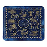10' x 12' Mouse Pads Blue and Gold Collage Zodiac Symbols in Map Line Horoscope Signs Vintage Mystic Astrology Mousepad for Laptop,Desktop Computers Office Supplies Mouse Mats