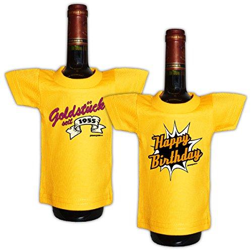Tini - Shirts 65.Geburtstag - Deko und Geschenkverpackung für Flaschen/Weinflaschen - Jahrgang 1955 : Goldstück 1955 / Happy Birthday - 2erSet - 65 Jahre Deko - Flaschenshirt - !! für 2020 !!