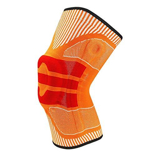 L.J.JZDY Knee Brace Support Compression Sleeve with Strap for Best Support & Pain Relief Shock Absorption Adjustable Belt Knee Brace Knee Protection (Color : Orange, Size : M)