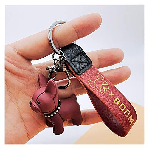 Xx101 Keychain Fashion Punk French Bulldog Keychain PU Leather Dog Keychains for Women Bag Pendant Trinket Men's Car Key (Color : 1)