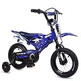 Bicicleta para niños, 16 pulgadas con diseño de moto con guardabarros y doble freno en V, marco de metal antideslizante, bicicleta de cuatro ruedas para niños práctica coche motocicleta bicicleta
