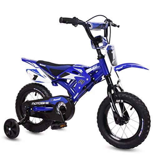 Kohyum Bicicleta infantil con diseño de 12 motocicletas, con guardabarros y freno en V para niños.