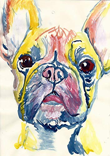 French Bulldog Wall Art Decor, Frenchie Mom Gift, Dog Memorial, Frenchy Picture, Nursery Art Print, Choice Of Sizes Hand Signed by Canine Portrait Artist Oscar Jetson