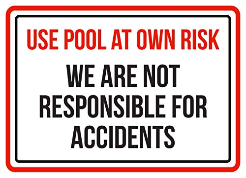 """""""No Brands Use Pool At Own Risk, We Are Not Responsible For Uncidents Spa Warnschild, Metall, 19,1 x 26,7 cm"""