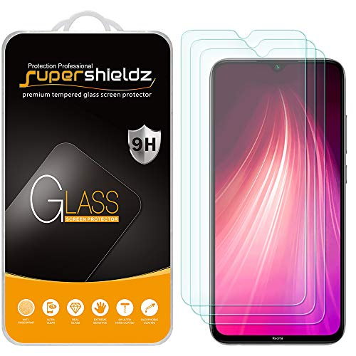 (3 Pack) Supershieldz for Xiaomi Redmi Note 8 Tempered Glass Screen Protector, Anti Scratch, Bubble Free