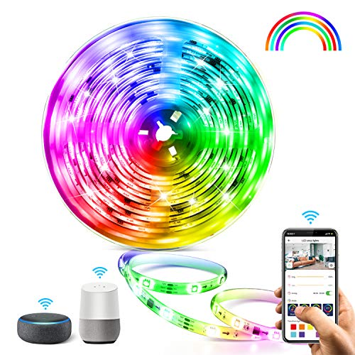 5M WIFI Tira LED RGB Aerb, Luces LED Smart de 16 millones de colores, Sincroniza con la Música, Control de voz, Program...