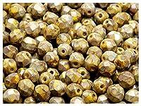 50個チェコの多面的なガラスビーズファイアポリッシュラウンド6ミリメートルレモントラバーチン(50 pieces Czech faceted glass beads Fire Polished Round 6 mm Lemon Travertine)