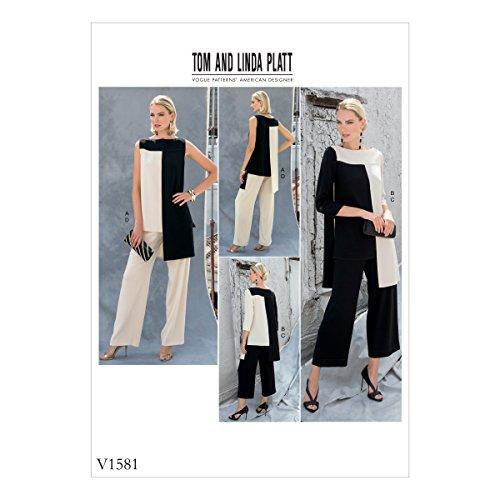 Vogue Mustern 1581A5, Schnittmuster Tunika und Hose, Größen 6–14, Tissue, Mehrfarbig, 20x 0,5x 25cm