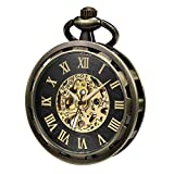 TREEWETO Reloj de bolsillo con diseño de esqueleto abierto para hombre, bronce antiguo, cuerda mecánica, con caja de regalo de cadena