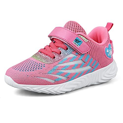 Zapatillas Deportivas Niñas Tenis Nina Bambas Ligero Niña Zapatos para Correr Caminar Niñas 36 EU,Rosa