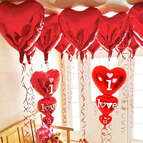 12 + 2 I Love You Balloons and Heart Balloons Kit - Pack of 14 - Valentines Day Decorations for Party | Valentines Day Balloons | Valentine Balloons | Pack of 10 Foil Mylar Red Heart Shaped Balloons