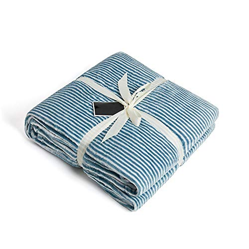 Ropa de Cama Manta Franela Sofá Manta Coral Fleece Manta de Aire Acondicionado Fleece Simple de Doble Cara Suave y cálida Azul 65.7x90 Pulgadas