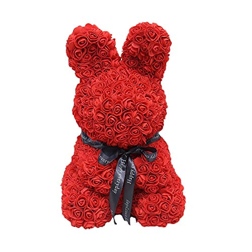 loldomognc 45cm foam rose flower cute rabbit doll w home party orations birthday mother 39 s day love dried artificial flowers