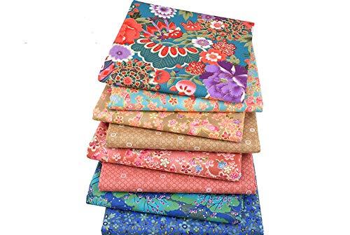 8 Telas florales multicolor para cojines, vestidos, costura, colchas, toallas,...