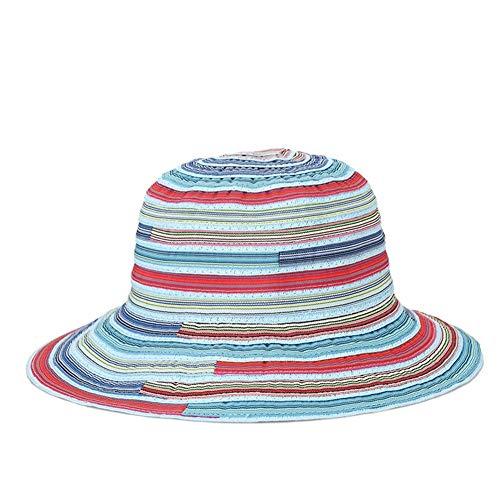 Buy Hat Hat Ladies Summer heathenish Cloth Foldaway Fashion Beach Bonnet Travel (Color : Red and Blu...