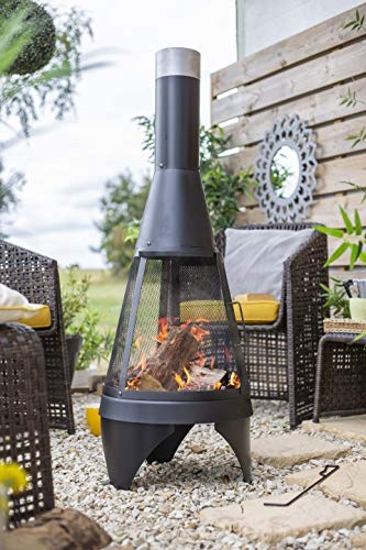 La Hacienda Mesh Colorado Medium Steel Chimenea, Black