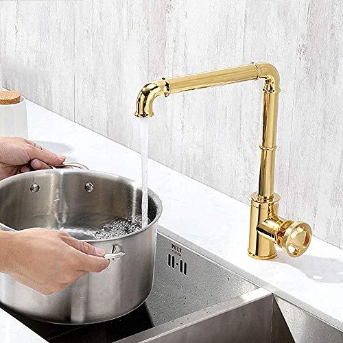 Atten Keuken wastafel kraan retro industriële stijl keuken kraan messing kraan badkamer kraan warme en koude kraan, zwart