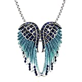 Szxc Women's Guardian Angel Wings Necklace Brooch Pin 2 in 1 - Couple Stainless Steel Chains (18' + 20') Navy Blue