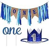 ZITA ELEMENT 1st Cumpleaños Decoración Accesorios para Baby Boy - Conjuntos 3 Piezas: Cake Topper One, Prince Tiara Crown, One Banner Kids First Birthday Party Supplies, Azul