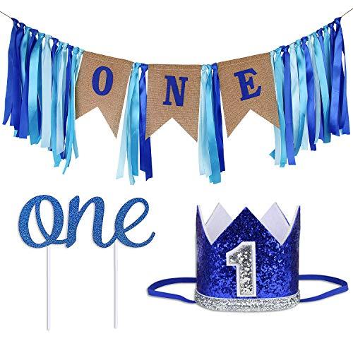 ZITA ELEMENT Baby 1. Geburtstag Dekorationszubehör 3 Stück Sets - Burlap Banner Wimpelkette Fahnen, Prinz Tiara Krone, Cake Topper One für Boy Party Dekor, Blau