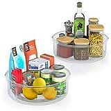 FINEW Juego de 2 organizadores para platos giratorios de cocina, 360 grados, estante giratorio de 360 grados, práctico soporte para especias, para cocina, despensa, frigorífico