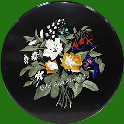 Gifts And Artefacts - Mesa auxiliar de mármol (35 x 35 cm), diseño floral con incrustaciones de mesa de centro