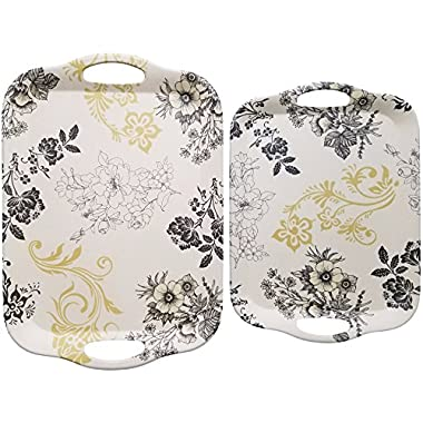 Natural Bamboo Fiber 2-Piece Serving Platter Set for Food - Cream with Black Gold Floral Print - Large 16.5 x 11.5 x .6 inches - Medium 14.25 x 10.25 x .6 inches - Breakfast Tray Set - by Clean Cut
