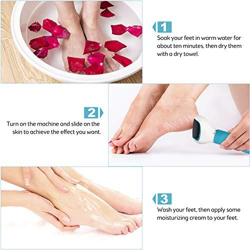 Elektrischer Hornhautentferner, DMH Elektrische Fußfeile USB Wiederaufladbare Hornhauthobel Hornhautraspel Fußpflege mit 3 Ersatzrollen und 2 Geschwindigkeiten, Hornhaut Entfernen for Füße