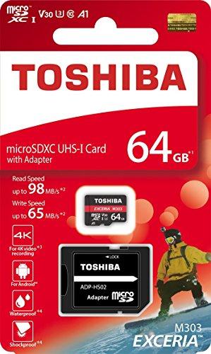 Toshiba 64GB MicroSDXC UHS-I U3 A1 V30 Class 10 Memory Card with...