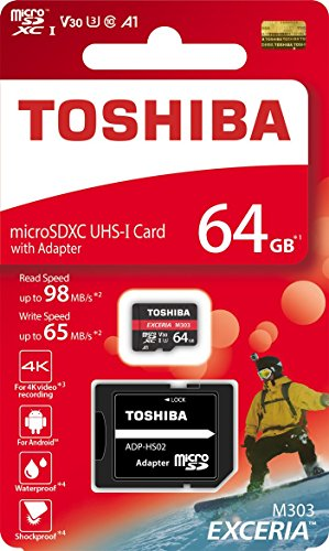 TOSHIBA Micro SD Card Memory Card 64GB 64G EXCERIA M303 with SD Adapter microSDXC UHS-I U3 Card 4K Class10 V30 A1 microSD Read 98MB/s Write 65MB/s (THN-M303R0640A2)