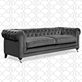 Elle Decor Amery Chesterfield Tufted Sofa, Mid-Century Modern Upholstered Couch with Rolled Arms, Plush Cushions, Gray Velvet 91' Tufted Sofa