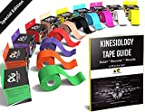 Physix Gear Sport Kinesiology Tape - Free Illustrated E-Guide - 5cm x 5m Uncut Roll - Best Pain Relief Adhesive for Muscles, Shin Splints Knee & Shoulder - 24/7 Waterproof Therapeutic Aid (1PK BLK)