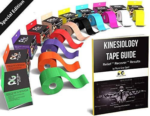 Physix Gear Sport Kinesiology Athletic Tape - Sports Injury Tape for Knee, Joint, Muscle Support - Adhesive Kinetic Tape/KT Tape - Improve Blood Circulation, Swelling, Pain Relief (1 Pk Black)