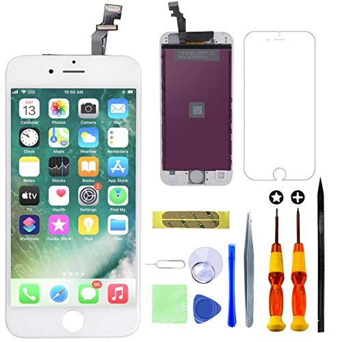 GULEEK Display per iPhone 6 Schermo 4,7 Pollici LCD Touch Screen Frame Vetro Schermo Kit Smontaggio Trasformazione Completo di Ricambio Utensili Inclusi (Bianco)