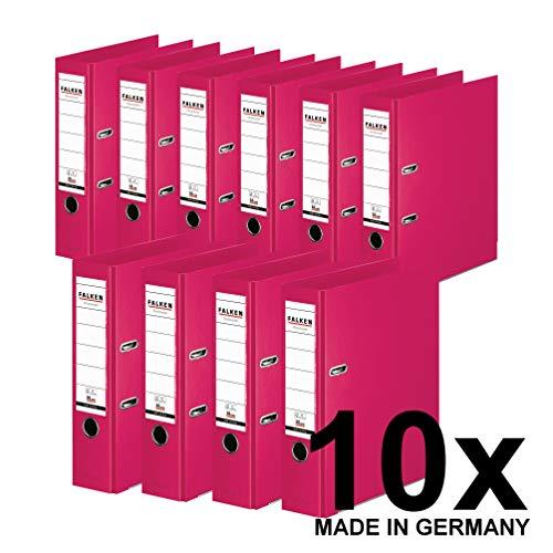 Original Falken 10er Pack Chromocolor Premium-Ordner. Made in Germany. Kunststoffbezug außen und innen 8 cm breit DIN A4 Pastell-Farbe pink Ringordner Aktenordner Briefordner Büroordner
