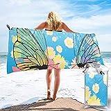 Tedtte Asciugamano da Viaggio ad Asciugatura Rapida da Spiaggia, Farfalla Raccoglie Il polline dal Fiore Hippie Daisy Garden of Blooms Asciugamano da Bagno Modello 160X80 cm