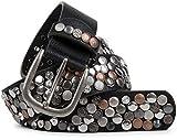 styleBREAKER Nietengürtel im Vintage Design, verschiedenen Nieten und Strass, kürzbar, Damen 03010051, Farbe:Schwarz/Kupfer, Größe:85cm